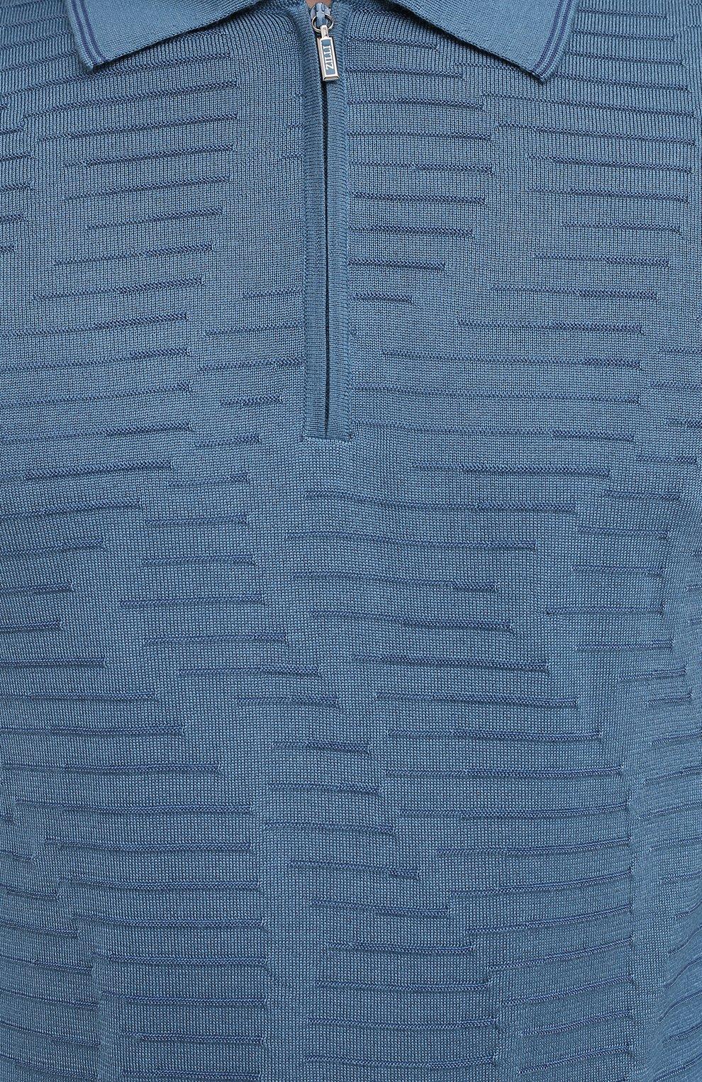 Мужское поло из кашемира и шелка ZILLI голубого цвета, арт. MBU-PZ082-VAWA1/ML01 | Фото 6