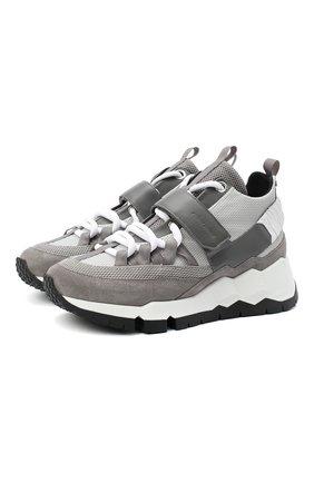 Мужские комбинированные кроссовки PIERRE HARDY серого цвета, арт. SX07/SUEDE CALF-MESH CALF | Фото 1
