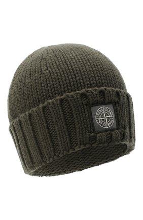 Мужская шерстяная шапка STONE ISLAND хаки цвета, арт. 7315N17D6 | Фото 1