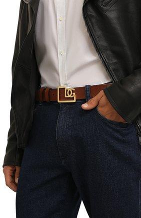 Мужской кожаный ремень DOLCE & GABBANA коричневого цвета, арт. BC4476/AV480 | Фото 2