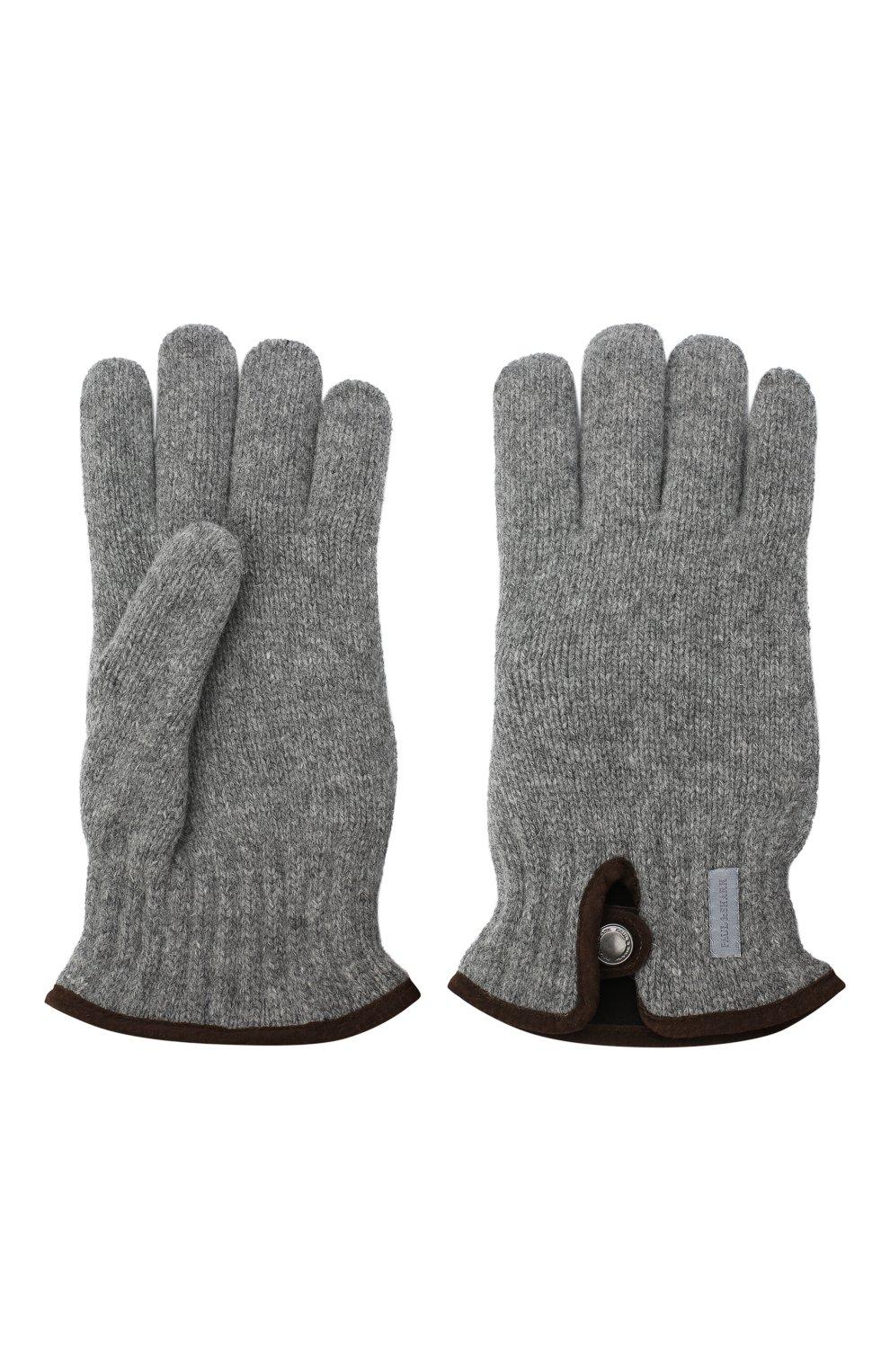 Мужские шерстяные перчатки PAUL&SHARK светло-серого цвета, арт. I20P7201/HC7 | Фото 2
