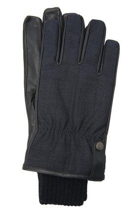 Мужские комбинированные перчатки PAUL&SHARK темно-синего цвета, арт. I20P7202/GPR | Фото 1