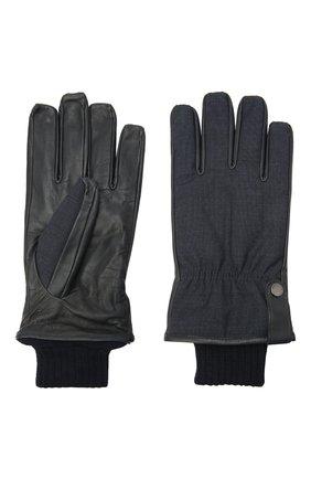 Мужские комбинированные перчатки PAUL&SHARK темно-синего цвета, арт. I20P7202/GPR | Фото 2