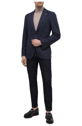 Мужской пиджак из шерсти и хлопка SARTORIA LATORRE темно-синего цвета, арт. JEF74 JA3133 | Фото 2