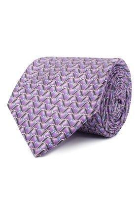 Мужской шелковый галстук ZILLI фиолетового цвета, арт. 51099/TIE | Фото 1 (Материал: Текстиль; Принт: С принтом)