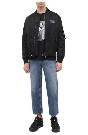 Мужская хлопковая футболка NEIL BARRETT черного цвета, арт. BJT816S/P531S | Фото 2