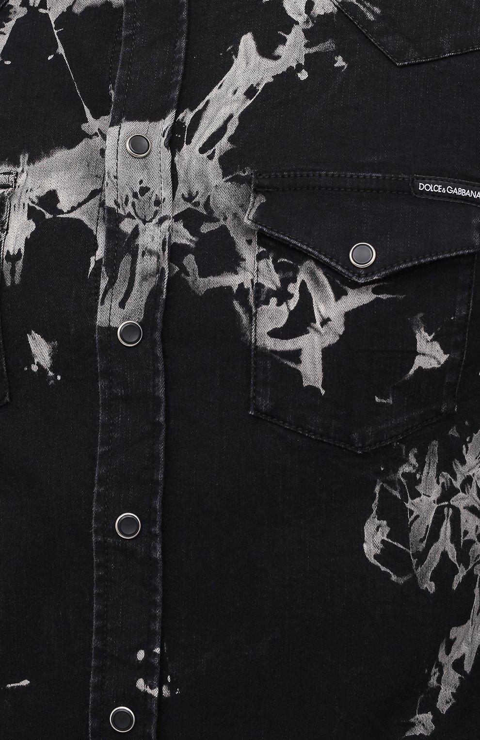 Мужская джинсовая рубашка DOLCE & GABBANA черного цвета, арт. G5EX7D/G8CV9 | Фото 5