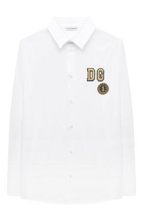 Детская хлопковая рубашка DOLCE & GABBANA белого цвета, арт. L42S70/G7WXV/2-6 | Фото 1 (Материал внешний: Хлопок; Рукава: Длинные; Стили: Классический; Ростовка одежда: 2 года | 92 см, 3 года | 98 см, 4 года | 104 см, 5 лет | 110 см, 6 лет | 116 см)