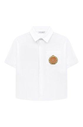 Детская сорочка с короткими рукавами DOLCE & GABBANA белого цвета, арт. L42S79/G7WXW/2-6 | Фото 1 (Материал внешний: Хлопок; Случай: Повседневный; Рукава: Короткие; Ростовка одежда: 2 года | 92 см, 3 года | 98 см, 4 года | 104 см, 5 лет | 110 см, 6 лет | 116 см)