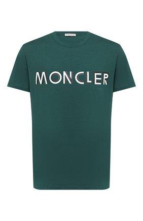 Мужская хлопковая футболка MONCLER зеленого цвета, арт. F2-091-8C759-10-8390T   Фото 1
