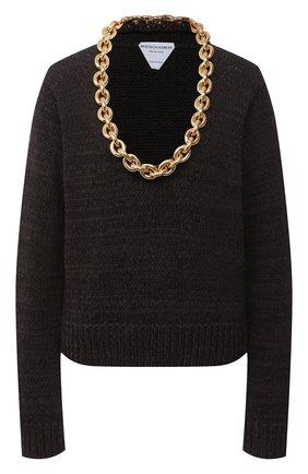 Женский хлопковый свитер BOTTEGA VENETA коричневого цвета, арт. 628711/VKWB0 | Фото 1