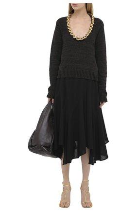 Женский хлопковый свитер BOTTEGA VENETA коричневого цвета, арт. 628711/VKWB0 | Фото 2