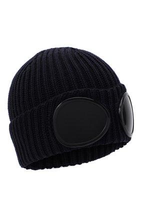 Мужская шерстяная шапка C.P. COMPANY темно-синего цвета, арт. 09CMAC239A-005509A | Фото 1