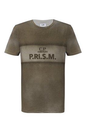 Мужская хлопковая футболка C.P. COMPANY хаки цвета, арт. 09CMTS207A-005697S | Фото 1