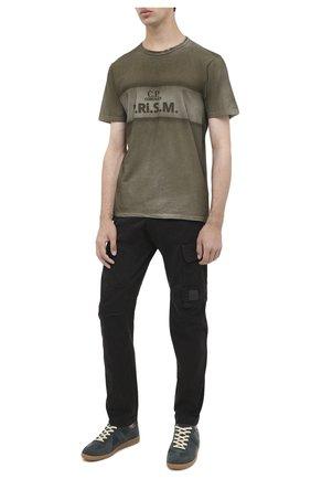 Мужская хлопковая футболка C.P. COMPANY хаки цвета, арт. 09CMTS207A-005697S | Фото 2