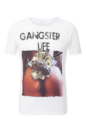 Мужская хлопковая футболка BISIBIGLIO белого цвета, арт. LU GANGSTER ASS LIFE | Фото 1