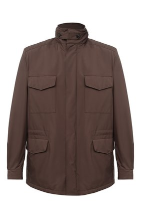 Мужская куртка traveller LORO PIANA коричневого цвета, арт. FAI1437 | Фото 1 (Материал внешний: Синтетический материал; Материал утеплителя: Шерсть; Рукава: Длинные; Мужское Кросс-КТ: Верхняя одежда, Куртка-верхняя одежда; Стили: Классический; Кросс-КТ: Ветровка, Куртка)