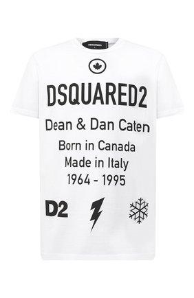 Мужская хлопковая футболка DSQUARED2 белого цвета, арт. S74GD0746/S23009 | Фото 1
