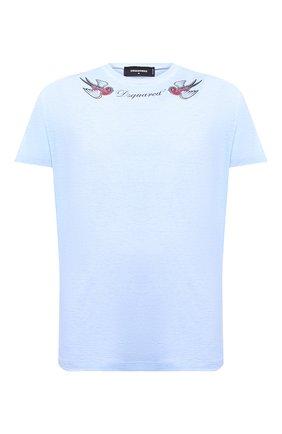Мужская хлопковая футболка DSQUARED2 голубого цвета, арт. S79GC0005/S22507   Фото 1