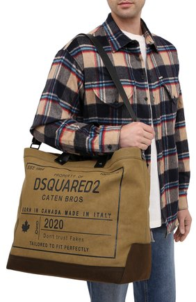 Мужская текстильная сумка-шопер DSQUARED2 хаки цвета, арт. SPM0026 63600001 | Фото 5