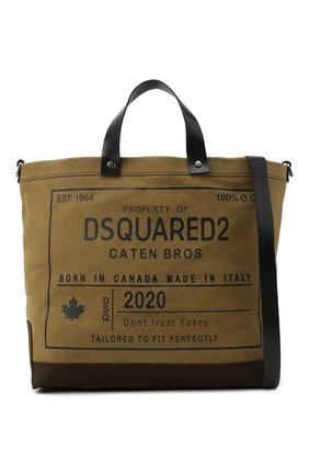 Мужская текстильная сумка-шопер DSQUARED2 хаки цвета, арт. SPM0026 63600001 | Фото 6