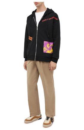 Мужской хлопковые брюки KENZO бежевого цвета, арт. FA65PA2551TA   Фото 2