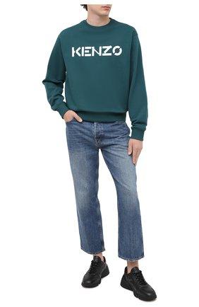 Мужской хлопковый свитшот KENZO зеленого цвета, арт. FA65SW0004MD   Фото 2