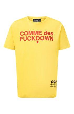 Мужская хлопковая футболка COMME DES FUCKDOWN желтого цвета, арт. CDFU1057 | Фото 1