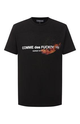 Мужская хлопковая футболка COMME DES FUCKDOWN черного цвета, арт. CDFU1005 | Фото 1