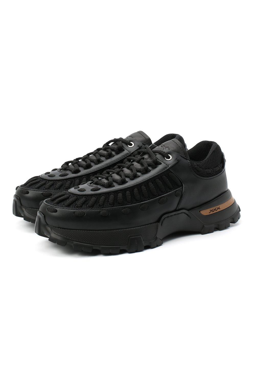 Мужские комбинированные кроссовки claudio ZEGNA COUTURE черного цвета, арт. A4256X-LHSSP | Фото 1 (Материал внешний: Текстиль; Материал внутренний: Натуральная кожа, Текстиль; Стили: Гранж; Подошва: Массивная)