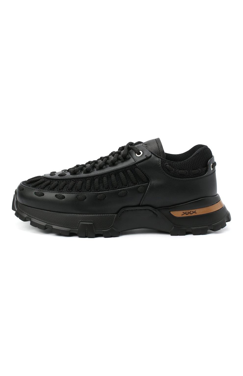 Мужские комбинированные кроссовки claudio ZEGNA COUTURE черного цвета, арт. A4256X-LHSSP | Фото 3 (Материал внешний: Текстиль; Материал внутренний: Натуральная кожа, Текстиль; Стили: Гранж; Подошва: Массивная)
