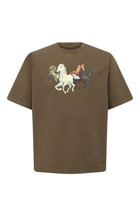 Мужская хлопковая футболка KENZO хаки цвета, арт. FA65TS0614SK   Фото 1