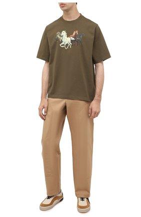 Мужская хлопковая футболка KENZO хаки цвета, арт. FA65TS0614SK   Фото 2