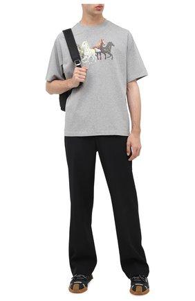 Мужская хлопковая футболка KENZO серого цвета, арт. FA65TS0614SK | Фото 2