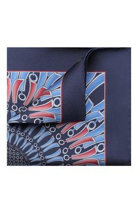 Мужской шелковый платок ZILLI синего цвета, арт. 51206/HANDKERCHIEF | Фото 1