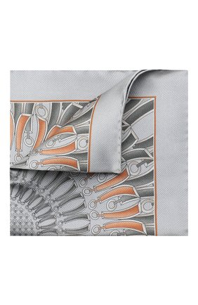 Мужской шелковый платок ZILLI серого цвета, арт. 51206/HANDKERCHIEF | Фото 1