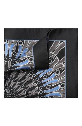 Мужской шелковый платок ZILLI черного цвета, арт. 51206/HANDKERCHIEF   Фото 1 (Материал: Шелк, Текстиль)