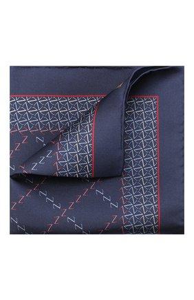 Мужской шелковый платок ZILLI темно-синего цвета, арт. 51200/HANDKERCHIEF | Фото 1