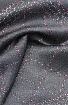 Мужской шелковый платок ZILLI серого цвета, арт. 51200/HANDKERCHIEF | Фото 2