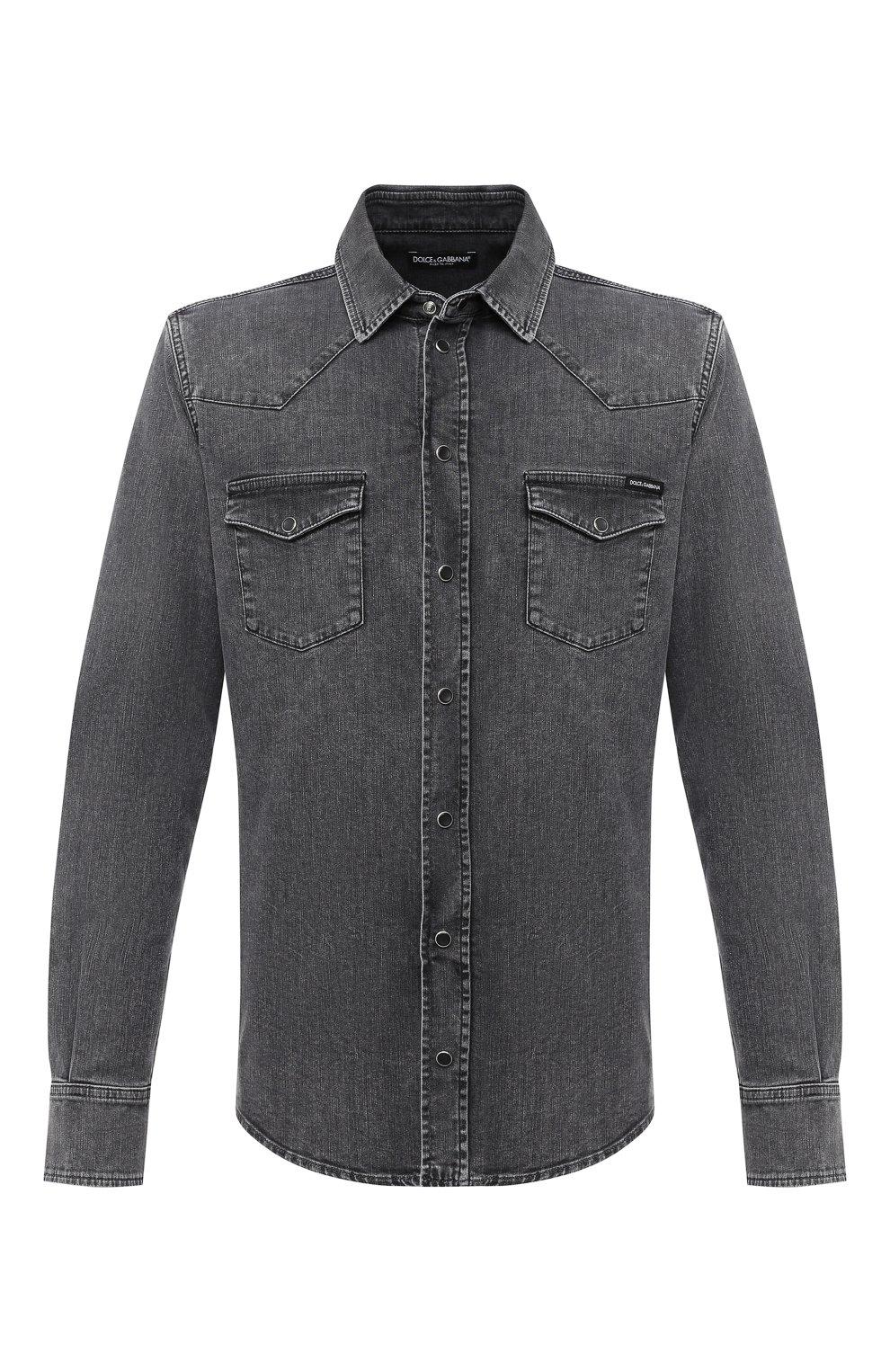 Мужская джинсовая рубашка DOLCE & GABBANA серого цвета, арт. G5EX7D/G8CP3 | Фото 1