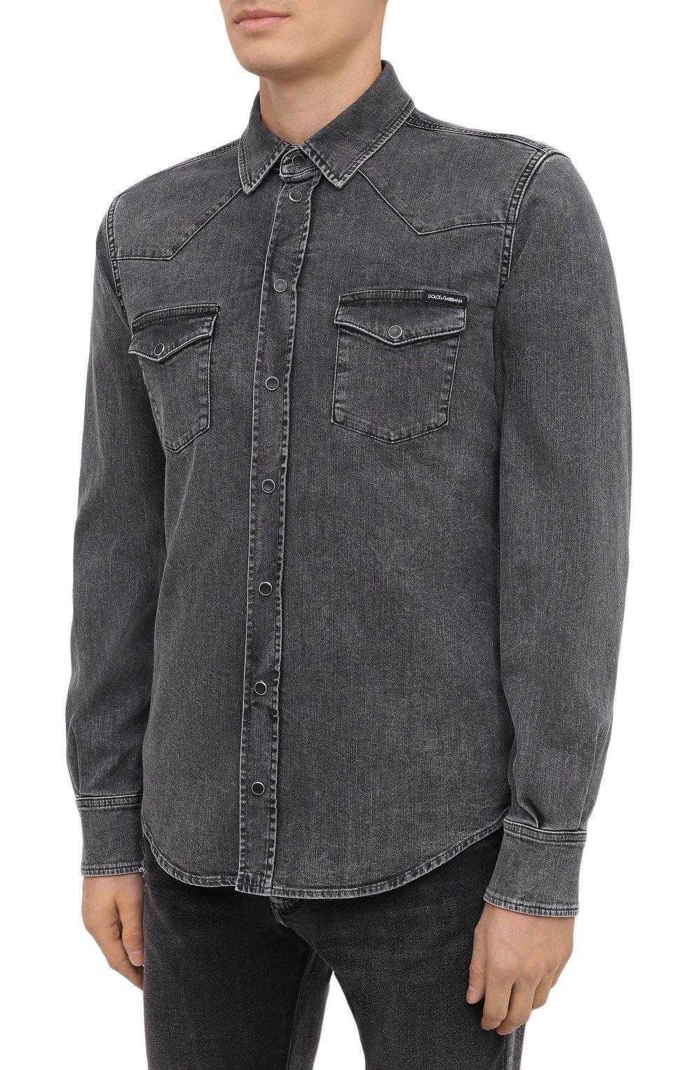 Мужская джинсовая рубашка DOLCE & GABBANA серого цвета, арт. G5EX7D/G8CP3 | Фото 3