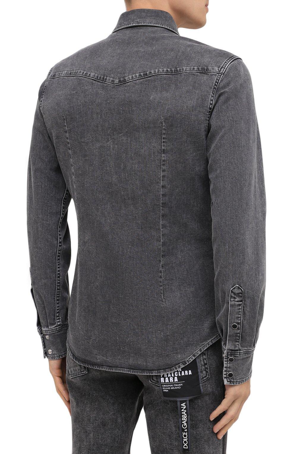 Мужская джинсовая рубашка DOLCE & GABBANA серого цвета, арт. G5EX7D/G8CP3 | Фото 4