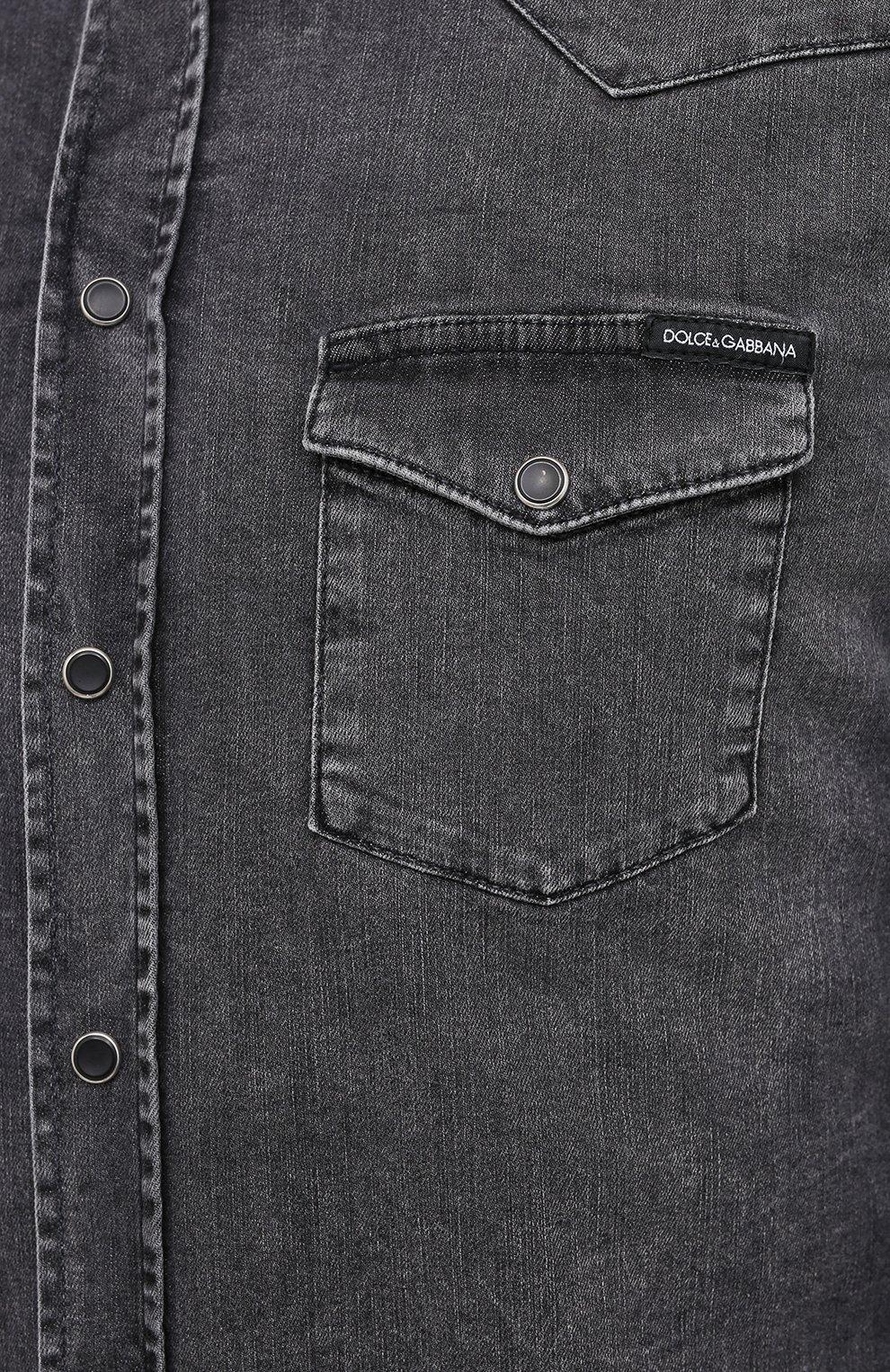 Мужская джинсовая рубашка DOLCE & GABBANA серого цвета, арт. G5EX7D/G8CP3 | Фото 5