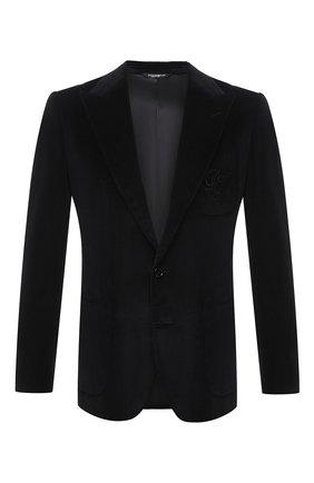 Мужской хлопковый пиджак DOLCE & GABBANA черного цвета, арт. G20S7Z/FUVB2 | Фото 1