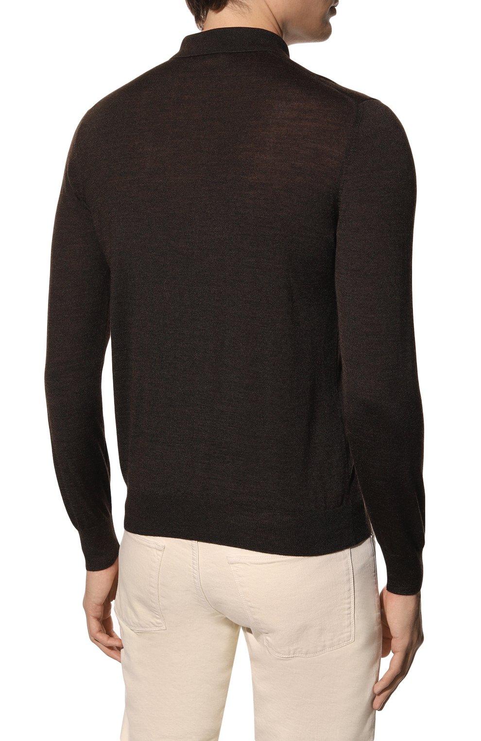 Мужское поло из шерсти и шелка GRAN SASSO коричневого цвета, арт. 57137/13190 | Фото 4 (Застежка: Пуговицы; Материал внешний: Шерсть, Шелк; Рукава: Длинные; Длина (для топов): Стандартные; Кросс-КТ: Трикотаж; Стили: Кэжуэл)