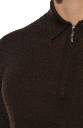 Мужское поло из шерсти и шелка GRAN SASSO коричневого цвета, арт. 57137/13190 | Фото 5 (Застежка: Пуговицы; Материал внешний: Шерсть, Шелк; Рукава: Длинные; Длина (для топов): Стандартные; Кросс-КТ: Трикотаж; Стили: Кэжуэл)