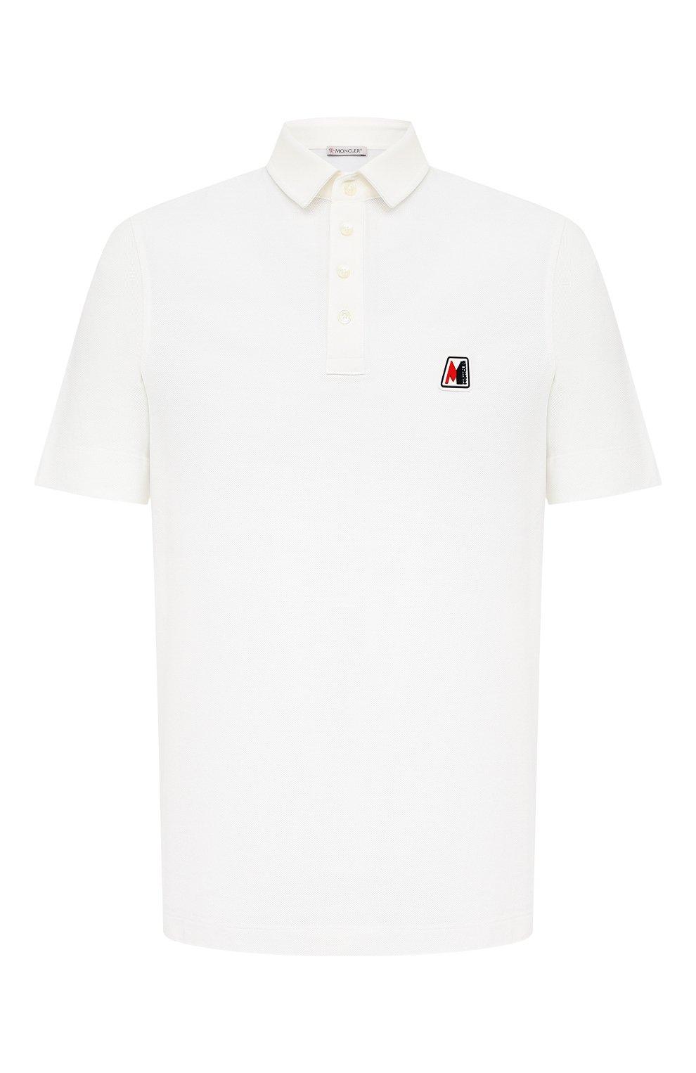 Мужское хлопковое поло MONCLER белого цвета, арт. F2-091-8A718-00-84556 | Фото 1