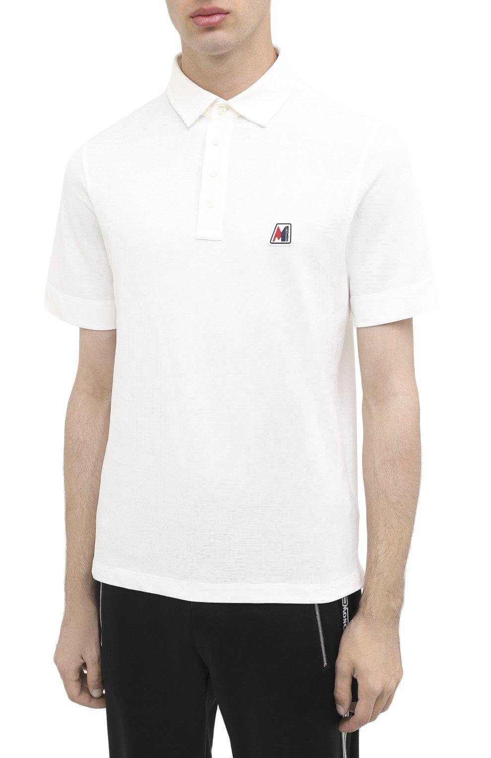 Мужское хлопковое поло MONCLER белого цвета, арт. F2-091-8A718-00-84556 | Фото 3