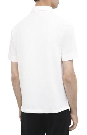 Мужское хлопковое поло MONCLER белого цвета, арт. F2-091-8A718-00-84556 | Фото 4