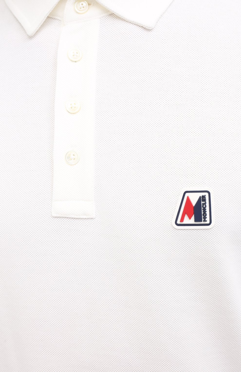 Мужское хлопковое поло MONCLER белого цвета, арт. F2-091-8A718-00-84556 | Фото 5